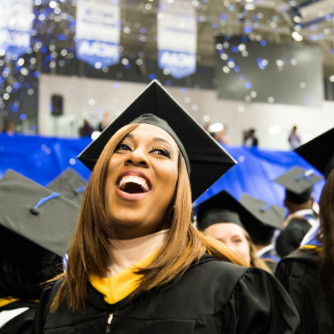 Students celebrate at the annual Commencement ceremony.