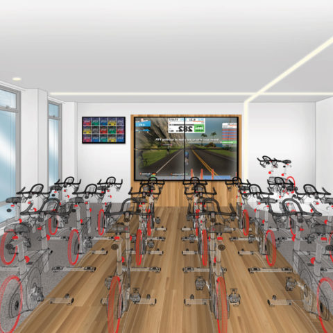 Preliminary rendering of the Fighting Knights cycling studio in the Snyder Center for Health and Wellness