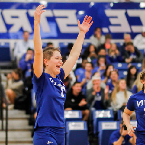 Women's volleyball players excited about win