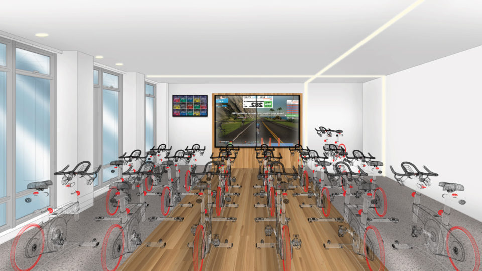 Preliminary rendering of the Fighting Knights cycling studio in the 对健康和保健斯奈德中心