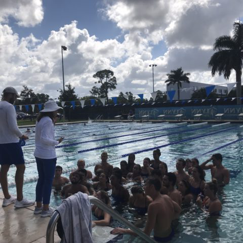 Swim team having a meeting in the pool
