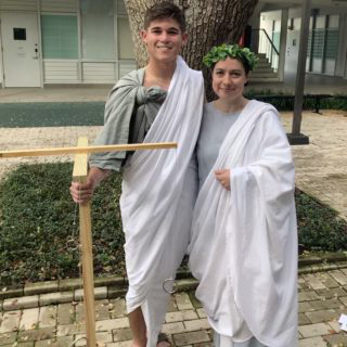 Two students dressed in togas
